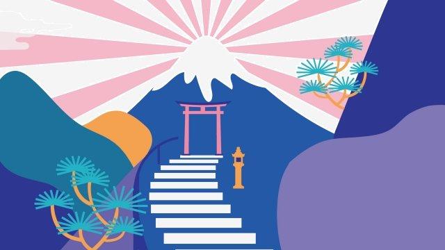 日本の風景神社山富士山 イラスト素材
