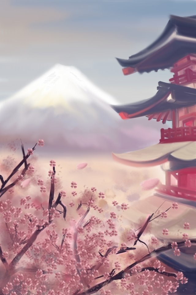 japan mount fuji landscape pink, Temple, Japan, Mount Fuji illustration image