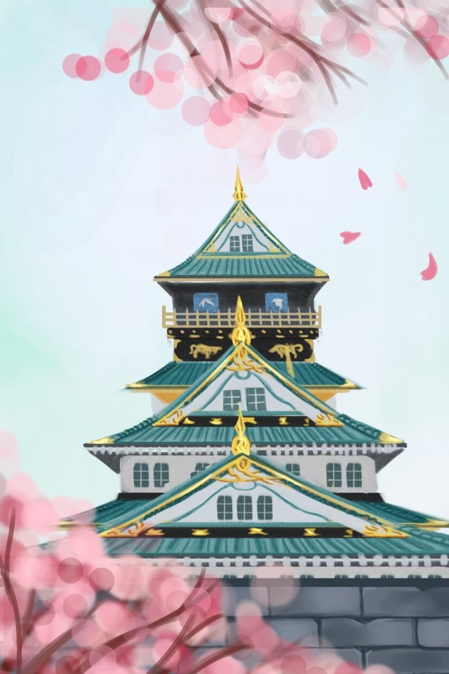 japan osaka osaka castle building, Cherry Blossoms, Hand Painted, Illustration illustration image