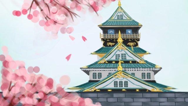 japan osaka osaka castle building llustration image