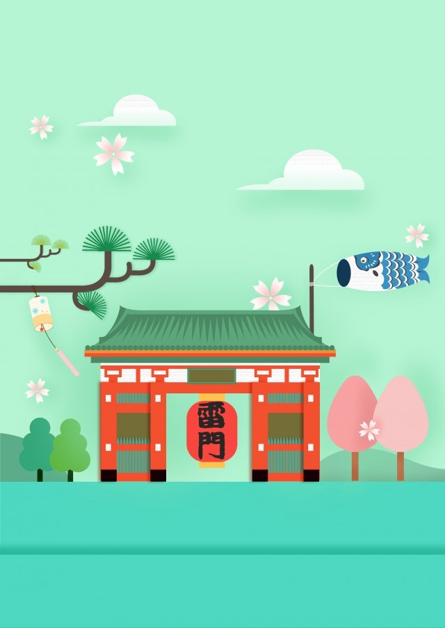 japan sensoji temple leimen cartoon, Landscape, Places Of Interest, Tokyo illustration image