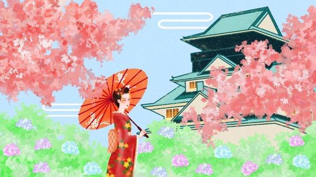 日本ゼファー着物桜 イラスト素材