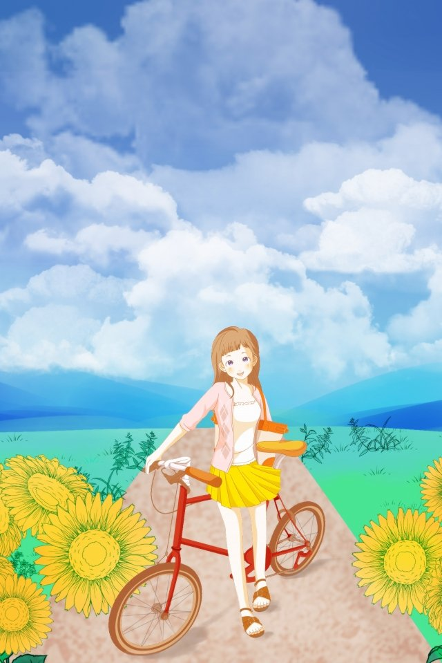 日本のひまわりの少女の美しいイラスト 日本のイラスト 美しい 手描き ひまわり 青い空と白い雲 小さな女の子 自転車 文学 キャンディーカラー日本のイラスト  美しい  手描き PNGおよびPSD illustration image