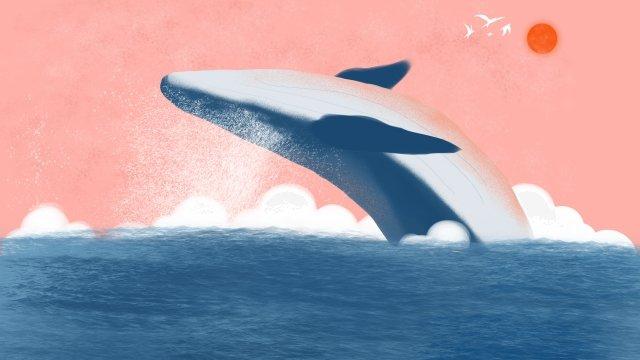 和風イラスト美しい純粋な手描き 和風 イラスト 癒し系 純粋な手描き 海 シロナガスクジラ 浮世絵 漫画 ゼファー 美しい和風  イラスト  癒し系 PNGおよびPSD illustration image