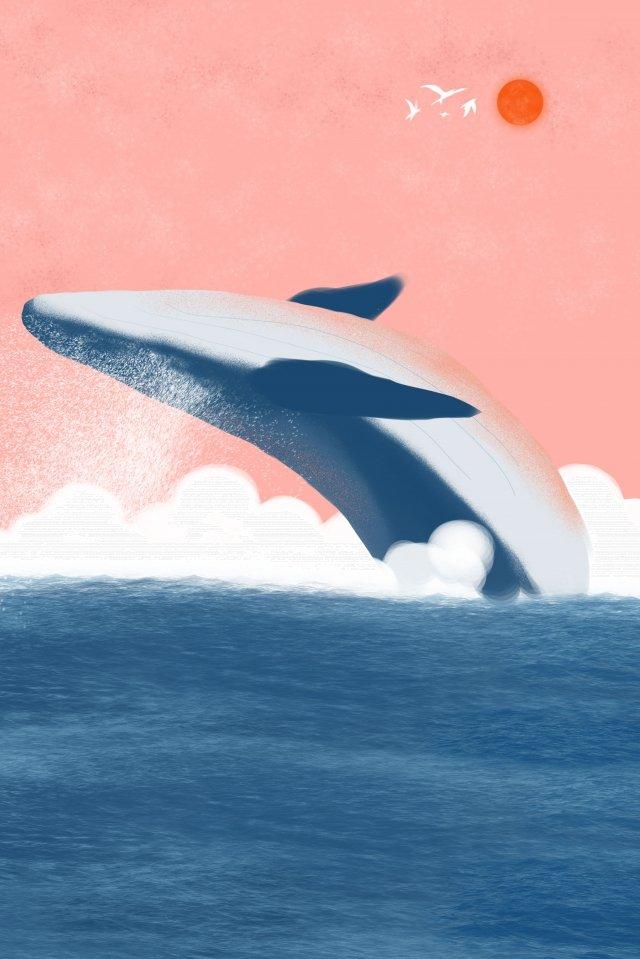 和風イラストキュアピュア手描きシーブルークジラ 和風 イラスト 癒し系 純粋な手描き 海 シロナガスクジラ 浮世絵 漫画 ゼファー 美しい和風  イラスト  癒し系 PNGおよびPSD illustration image