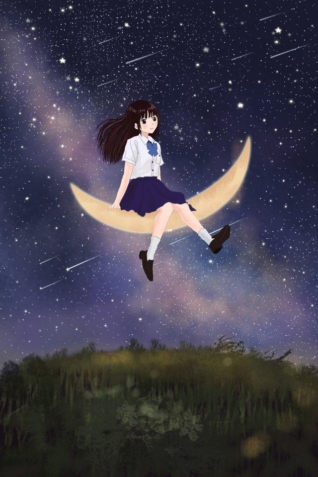 夜空の和風イラスト 日本語 スタイル イラスト それ 夜空 少女 星 グラスランド 人気のある 月 暖かい夜空の和風イラスト  日本語  スタイル PNGおよびPSD イラスト画像