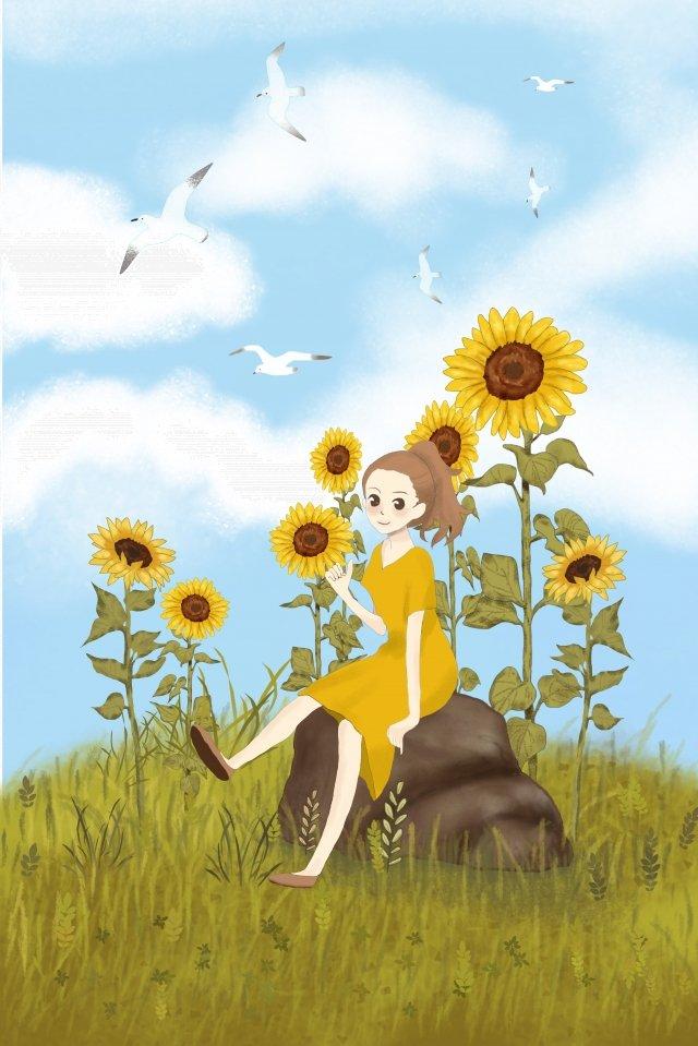ひまわりの日本風イラスト 日本語 スタイル イラスト それ ひまわり かもめ 少女 石 グラスランド 白い雲 暖かいひまわりの日本風イラスト  日本語  スタイル PNGおよびPSD イラスト画像
