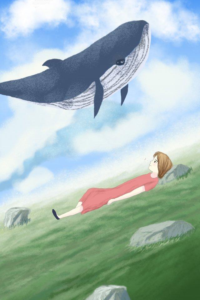 日本の風イラストクジラ 日本語 スタイル イラスト それ クジラ グラスランド 白い雲 フライング 石 少女 暖かい日本語  スタイル  イラスト PNGおよびPSD illustration image