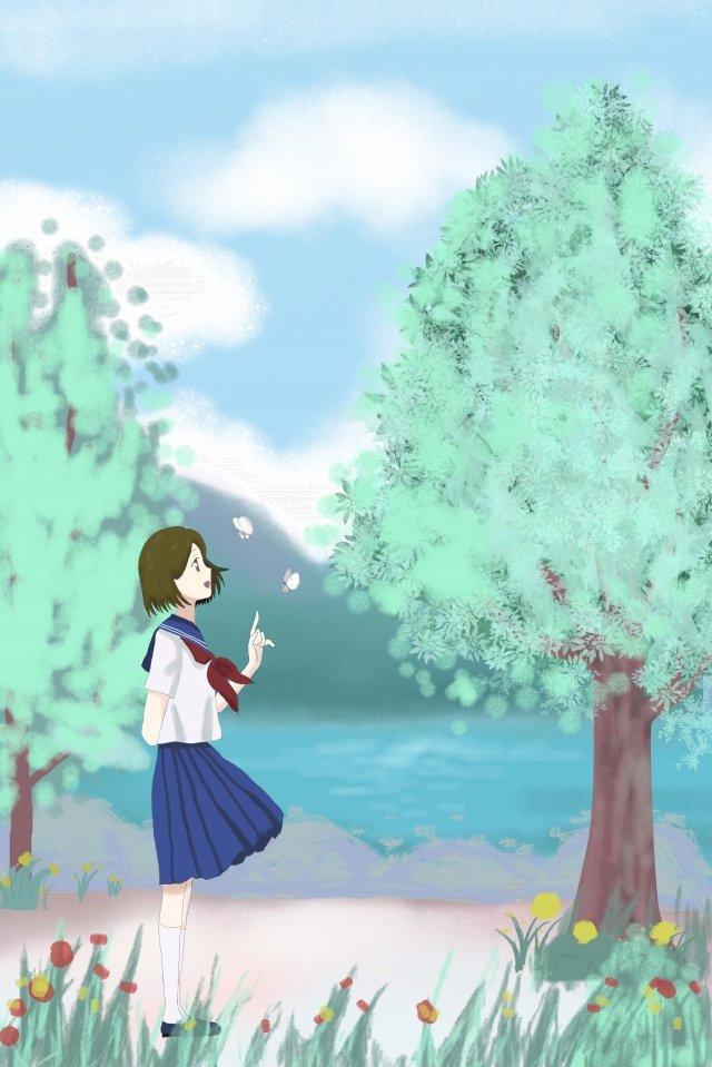 和風イラストシリーズ 日本語 スタイル イラスト シリーズ 学生 少女 蝶 湖畔 花 木々 暖かい和風イラストシリーズ  日本語  スタイル PNGおよびPSD イラスト画像