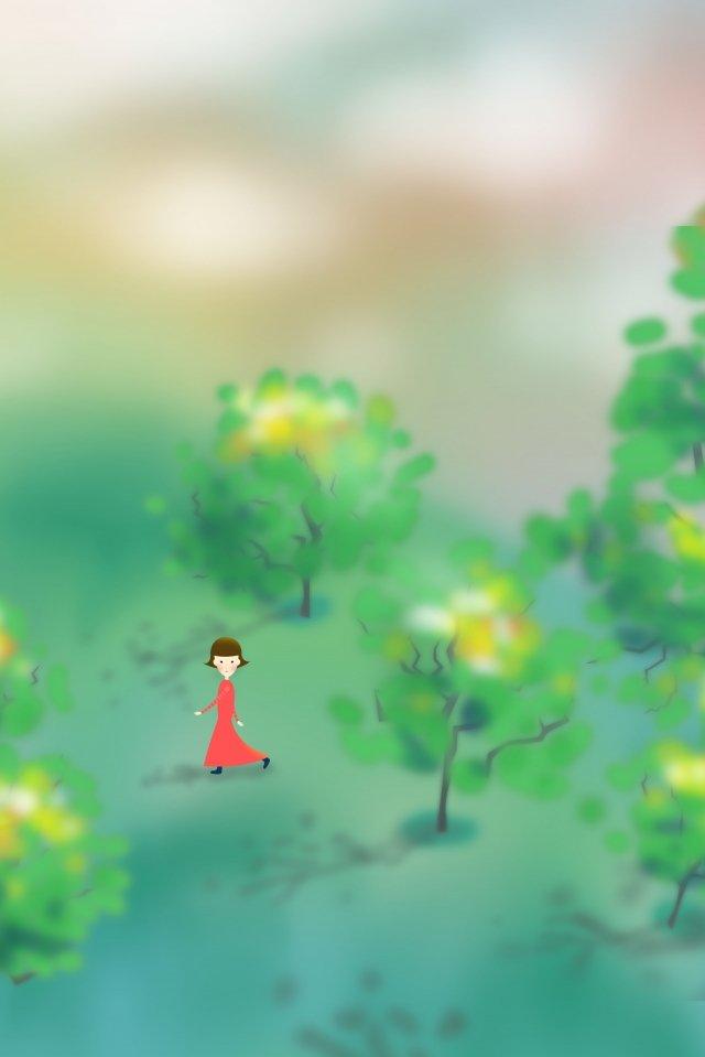 和風イラスト大きな木の丘の中腹の空の少女手描き 和風 イラスト 木 ヒルサイド 空 少女 手描き グリーン 赤いスカート 短い髪 大きな木 空 イエロー ピンク 植物 ワイルド和風  イラスト  木 PNGおよびPSD illustration image