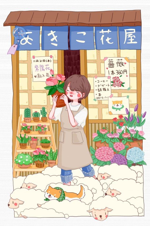 日本のテーマスタイルフラワーショップ花 イラスト素材