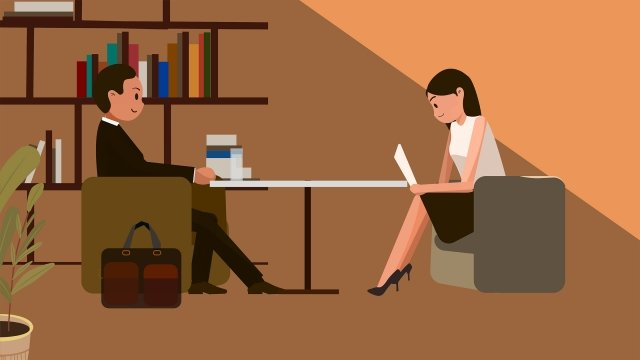 job hunting recruitment interview calm, Warm Color, Calm, Tone illustration image