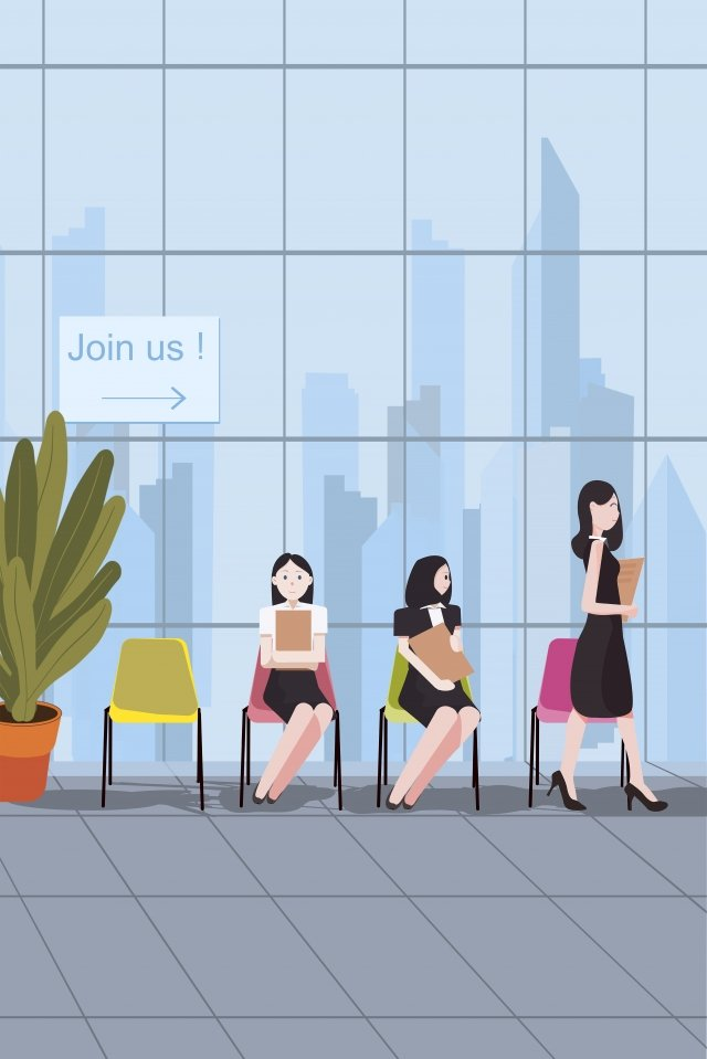 job recruitment registration scenario fresh tones fresh, Tone, Illustration, Job Recruitment illustration image