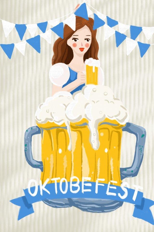 喜びカーニバルビール祭りビール イラストレーション画像