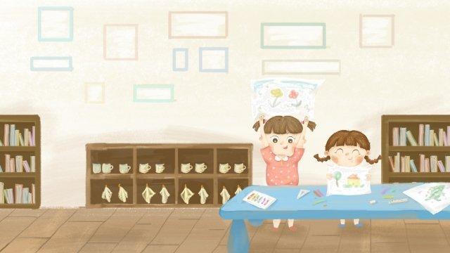 幼稚園児は手描きを描くことを学ぶ イラスト素材 イラスト画像