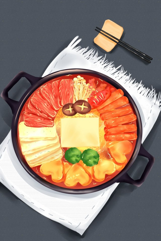 韓国食品軍の鍋鍋 イラスト素材