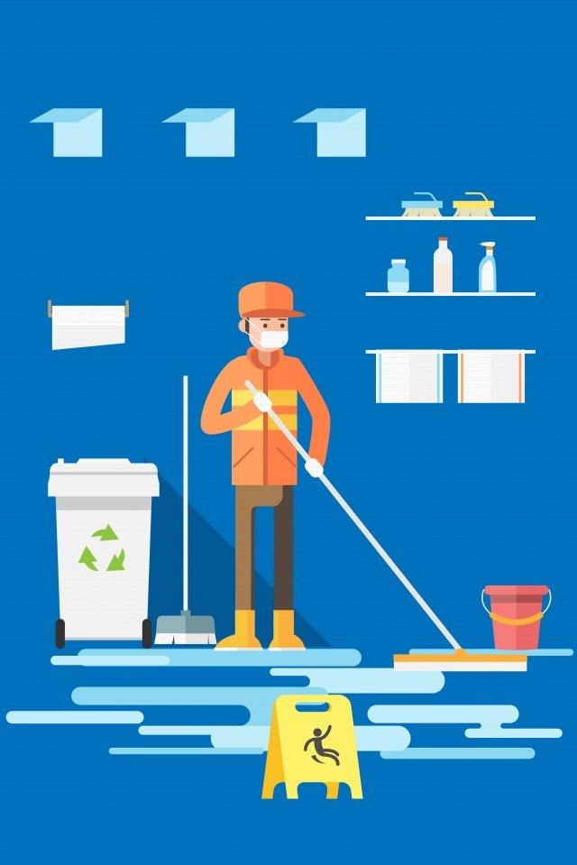 श्रम साफ कचरा एमओपी कर सकते हैं चित्रण छवि