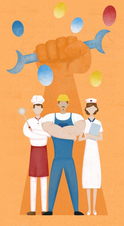 ilustrasi pekerja buruh hari oren imej keterlaluan