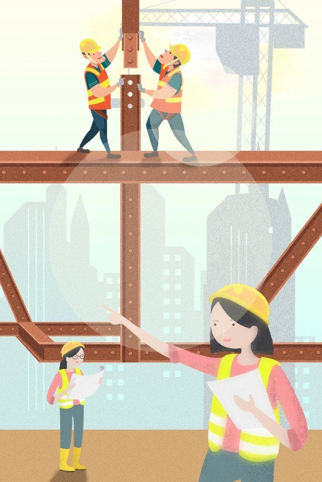 मजदूर दिवस साइट सहयोग निर्माण चित्रण छवि