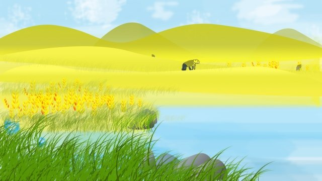 湖面雜草石小麥 插畫素材
