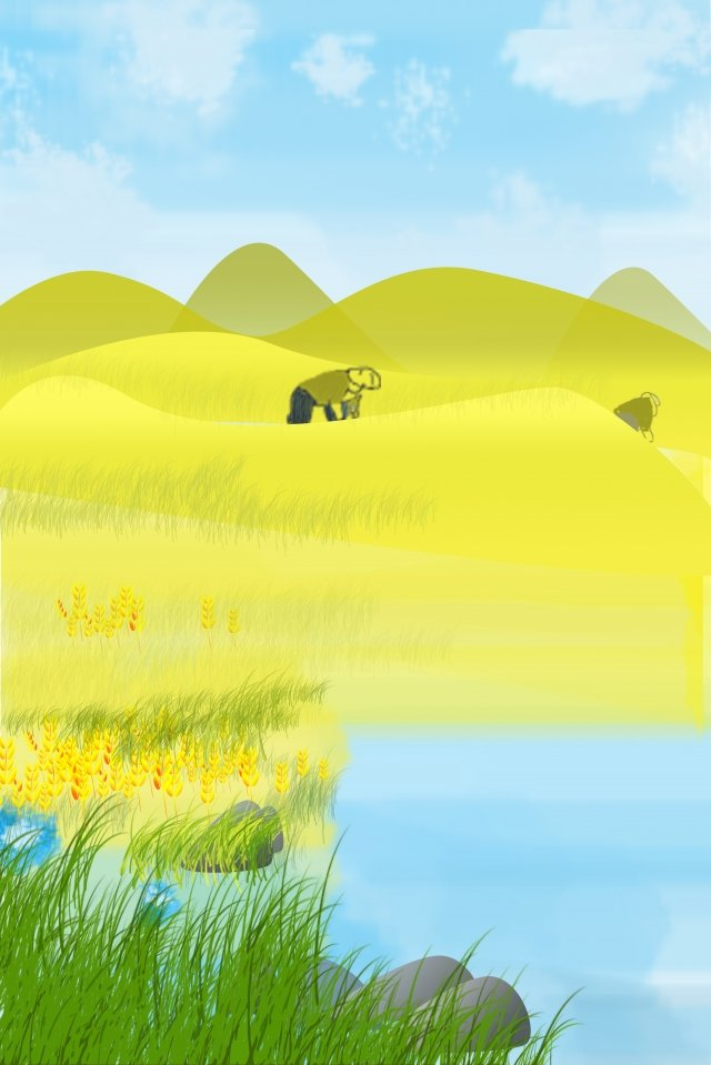 湖面雜草小麥金色麥田 插畫圖片
