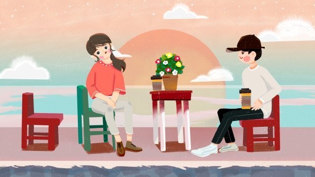 lakeside couple appointment coffee, Sunset, Sun, Coral illustration image