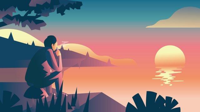 湖畔茶を飲む夕日の風景 イラスト素材 イラスト画像