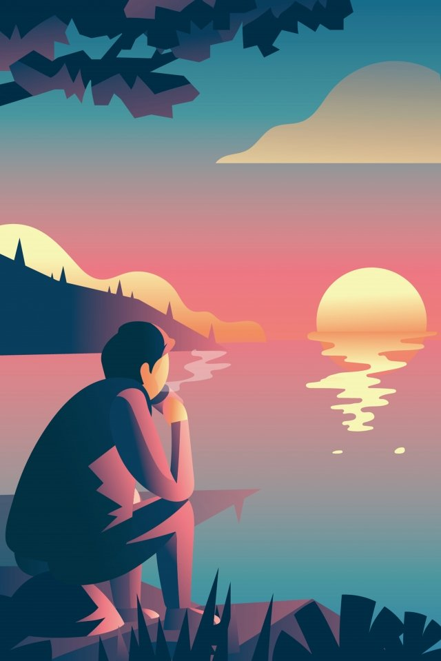 lakeside drinking tea sunset landscape, Lake, Watch, Sunset illustration image