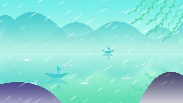 湖畔湖水雨雨 イラスト素材