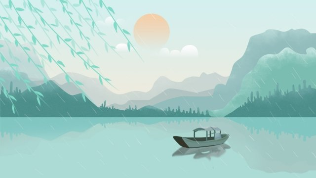 land of plenty cool spring cool breeze, Willow, Boat, Landscape illustration image