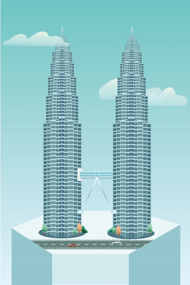 landmark building malaysia twin towers, High Building, Cool Color, Road illustration image
