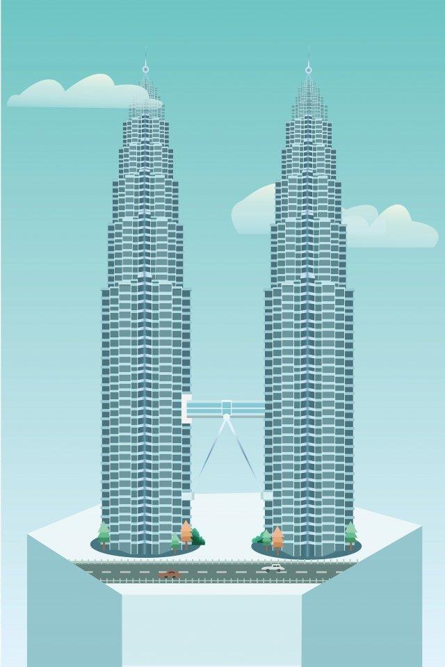 ランドマーク建物マレーシアツインタワー イラスト素材