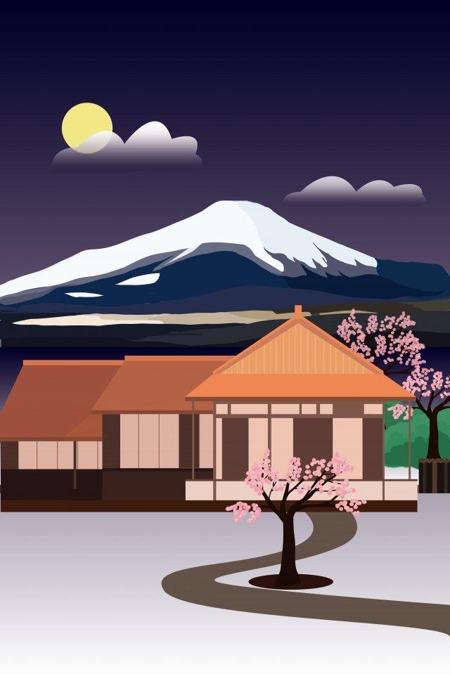 랜드 마크 건물 경관 일본 삽화 이미지
