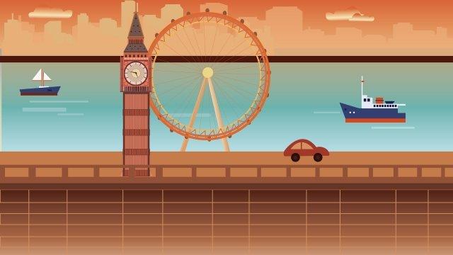 landmark building united kingdom big ben, London Eye, Canal, Vessel illustration image