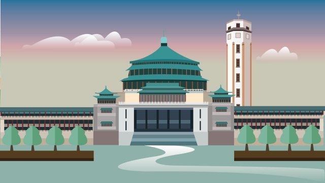 landmark illustration building chongqing, Peoples Grand Hall, Jiefangbei, Sky illustration image