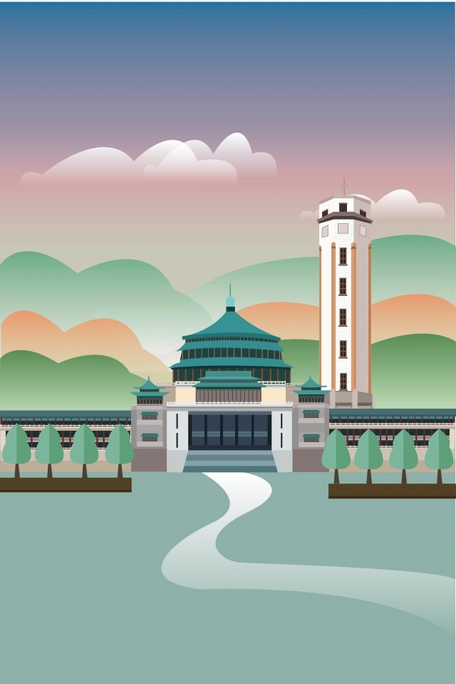 landmark illustration building chongqing, Peoples Grand Hall, Jiefangbei, Sky illustration image