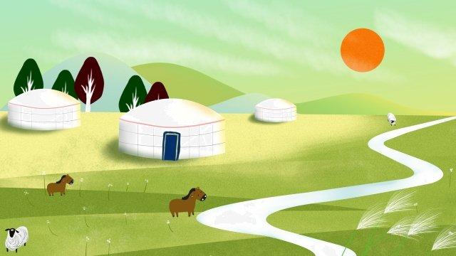 랜드 마크 그림 hulunbeier 대초원 삽화 소재