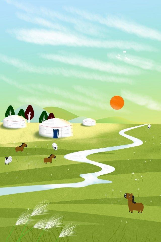 랜드 마크 그림 hulunbeier 대초원 삽화 소재 삽화 이미지