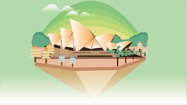 landmark sydney opera house building tree, Cloud, Green, Simple illustration image