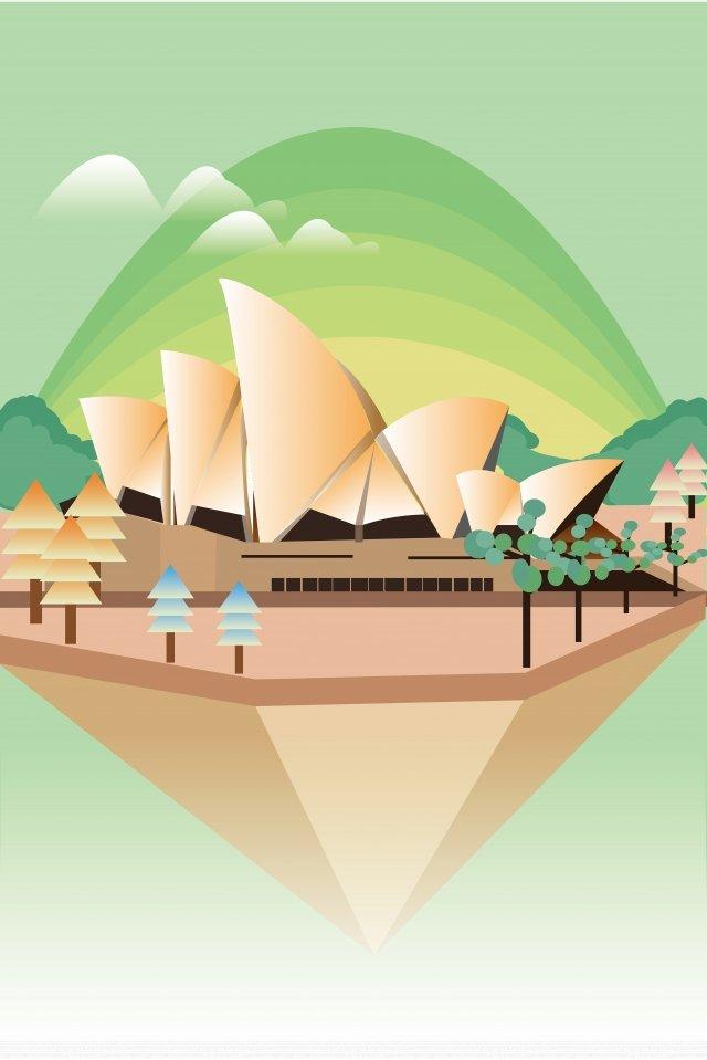 랜드 마크 시드니 오페라 하우스 건물 트리 삽화 소재