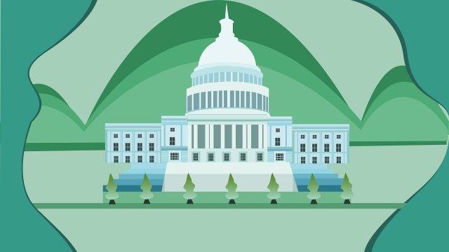 랜드 마크 백악관 건물 트리 삽화 소재