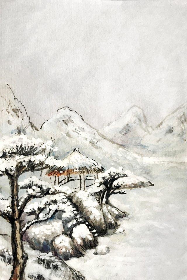 風景背景墨松 插畫圖片