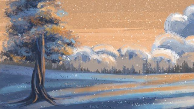 풍경 초 겨울 겨울 겨울 삽화 소재