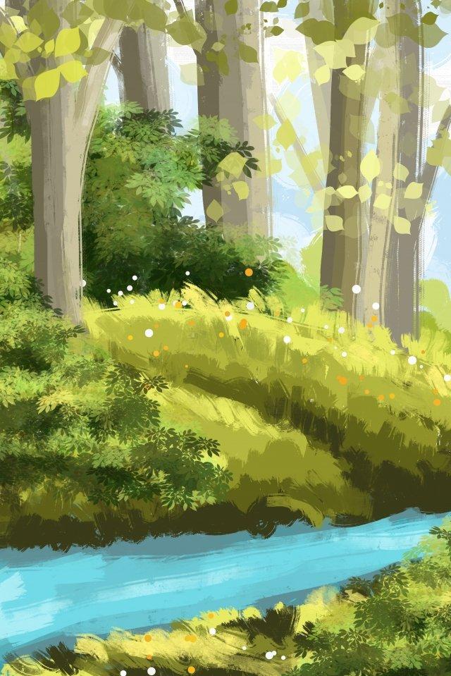 景觀手繪河叢林 插畫素材