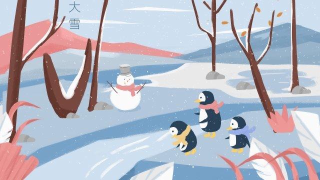풍경 폭설 겨울 겨울 태양 조건 삽화 소재
