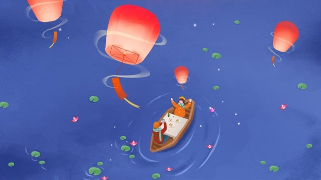 ランタンフェスティバル燃焼ランプ夜湖畔 イラスト素材 イラスト画像