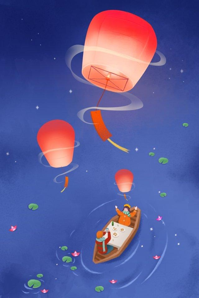 ランタンフェスティバル燃焼ランプ夜湖畔 イラスト素材