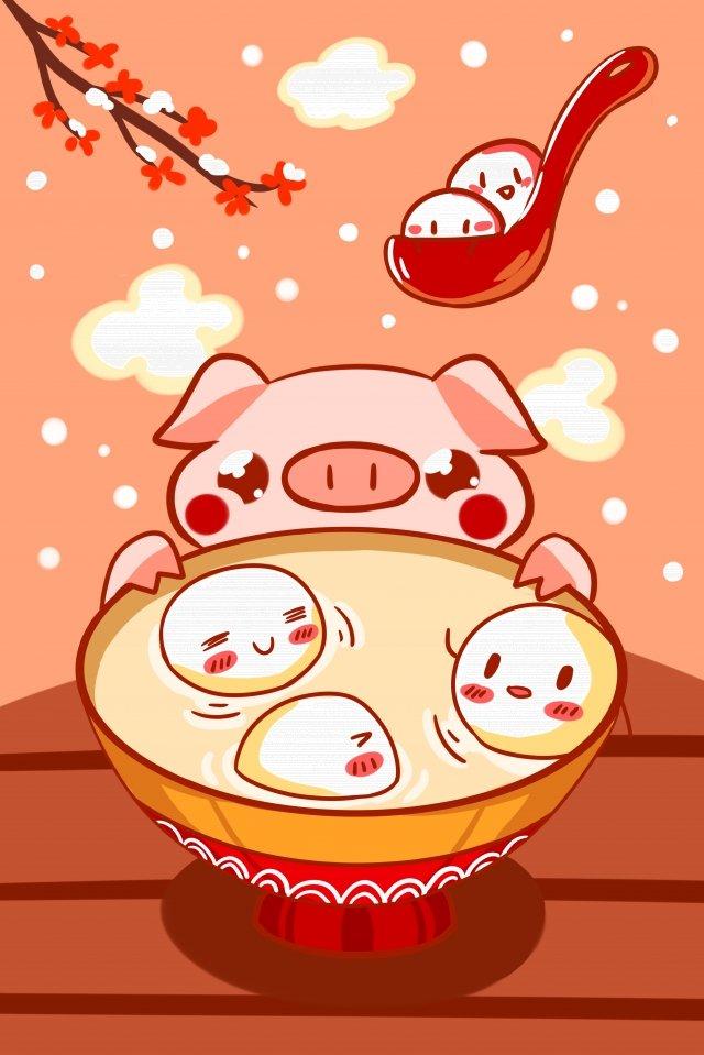 ランタンフェスティバル漫画唐源豚 イラスト素材 イラスト画像