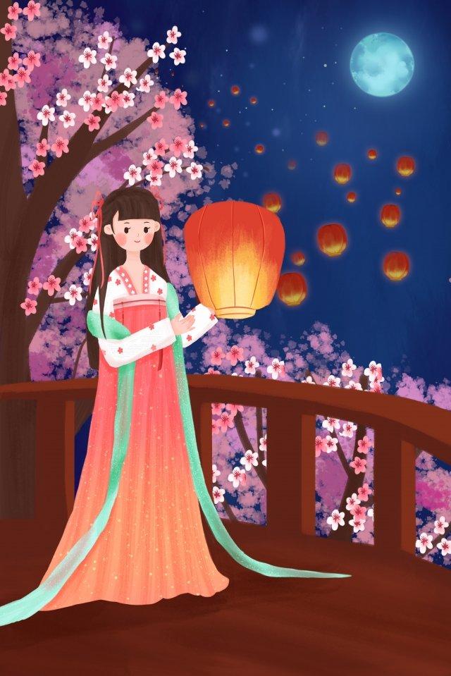 랜턴 축제 kongming lantern hanfu girl 삽화 소재