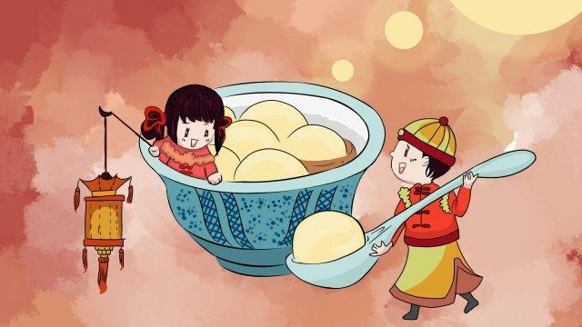 元宵節q版情侶吃元宵花燈 插畫素材 插畫圖片